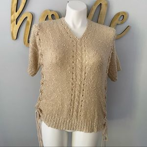 EASEL Lace Up Tie Sinching Knit Sweater